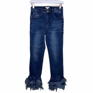 Jelly C tiered raw fringe hem jeans small